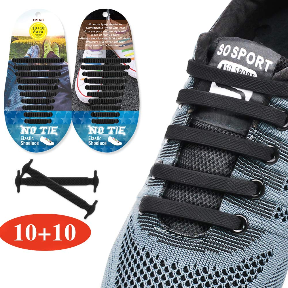 EZIGO Upgraded No Tie Shoelaces Widened Elastic Shoelaces for Adults//Kids Tieless Shoe Laces Waterproof Rubber Shoelaces for Sneakers Boots Board Shoes