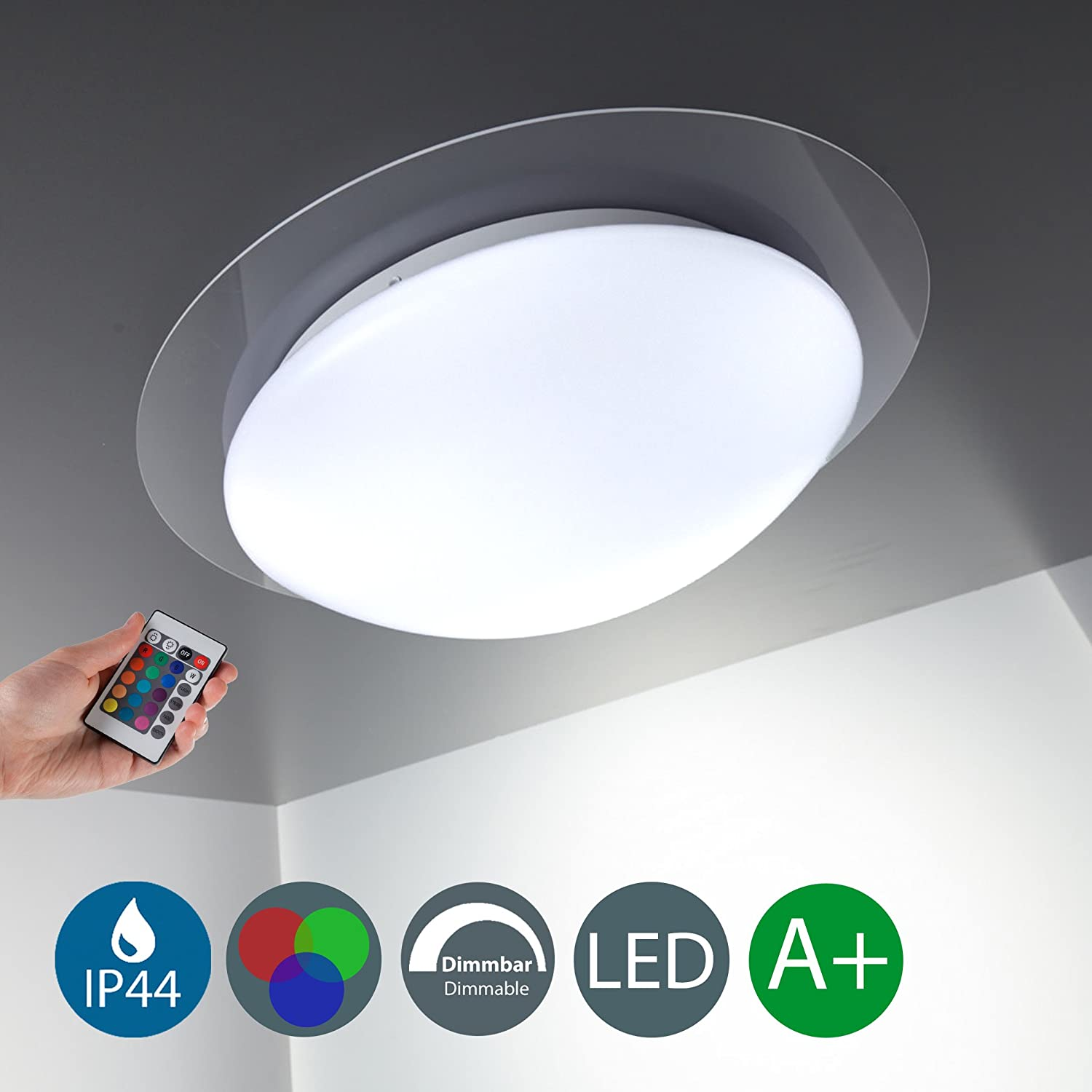 LED Bathroom Ceiling Light I Kitchen & Living room I Dimmable I 16 colours and 4 colour schemes I splash water proof I metal I acrylic design I 12 W I 230 V I IP44 [Energy Class A+] B.K.Licht BKL1025
