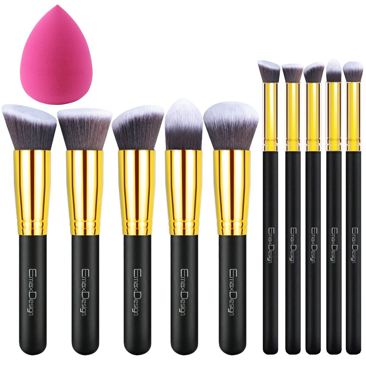 EmaxDesign 10+1 Pieces Makeup Brush Set, 10 Pieces Professional Foundation Blending Blush Eye Face Liquid Powder Cream Cosmetics Brushes & 1 Piece Rose Red Beauty Sponge Blender