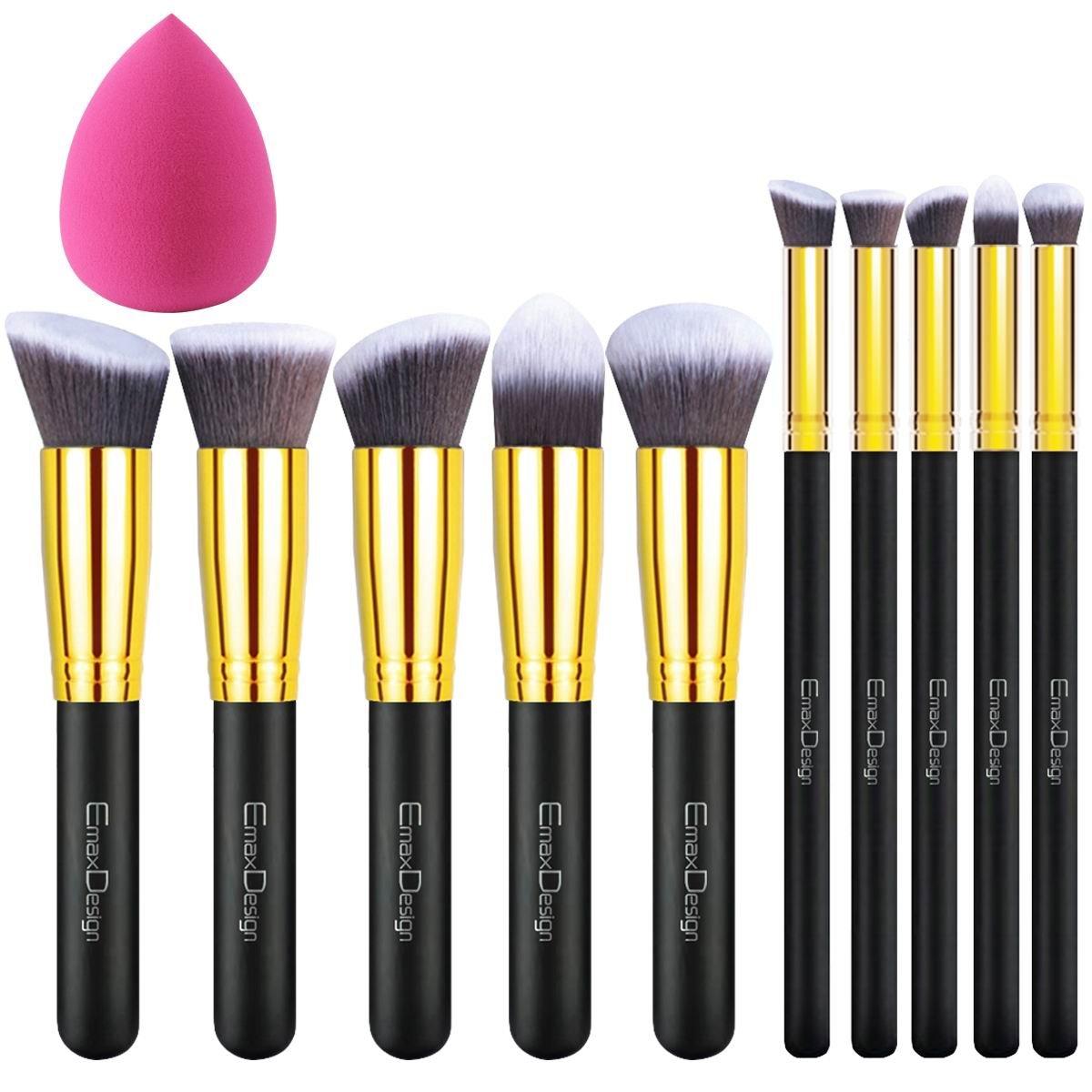 EmaxDesign 10+1 Pieces Makeup Brush Set, 10 Pieces Professional Foundation Blending Blush Eye Face Liquid Powder Cream Cosmetics Brushes & 1 Piece Rose Red Beauty Sponge Blender