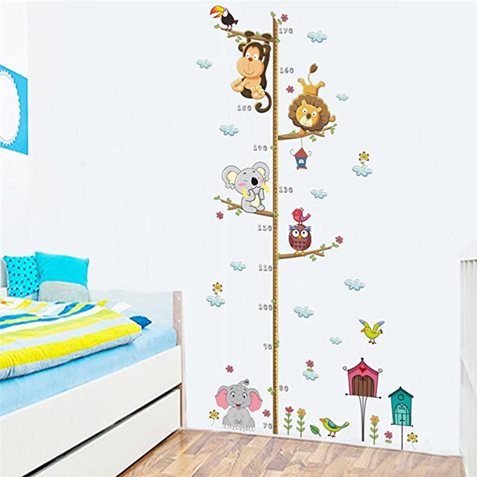 Jungle Wild Zoo Animals Height Measure Wall Stickers For Kids Room Safari Growth Chart Monkey Lion Wall Decal Poster Mural
