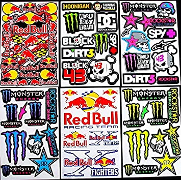 6 sheets motocross stickers kay pea boys rockstar bmx bike scooter moped army decal stickers