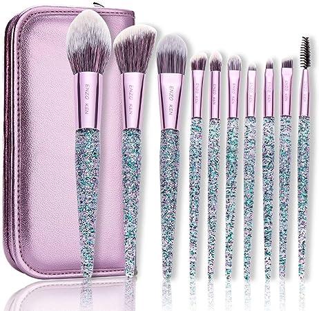 QWQ69 Brochas de Maquillaje de Colores con Estuche de cosméticos, 10 pcs, Corrector en Polvo, Sombras de Ojos, Juegos de brochas de Maquillaje: Amazon.es: Hogar