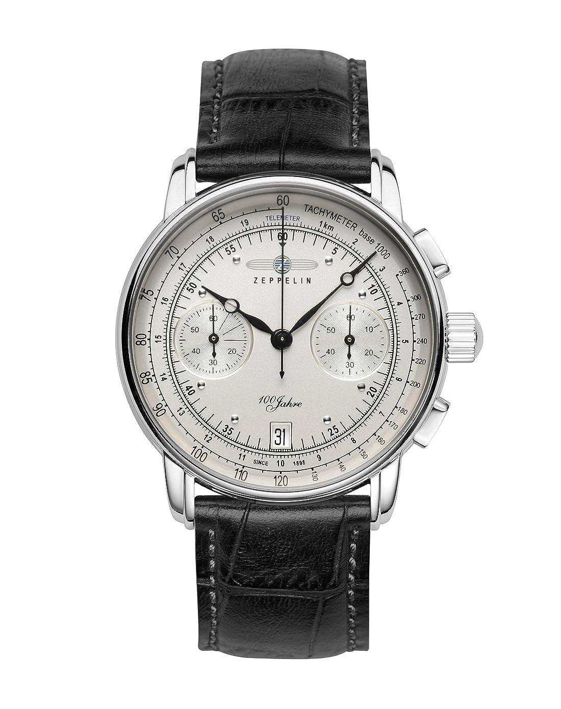 Amazon.com  Zeppelin 7670-1 100 Jahre Zeppelin Chrono 42mm 10ATM  Watches 54871db24ec