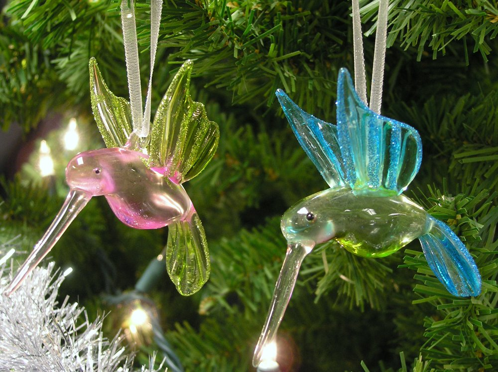 Amazon Hummingbird Glass Ornaments With Glitter Accents Set