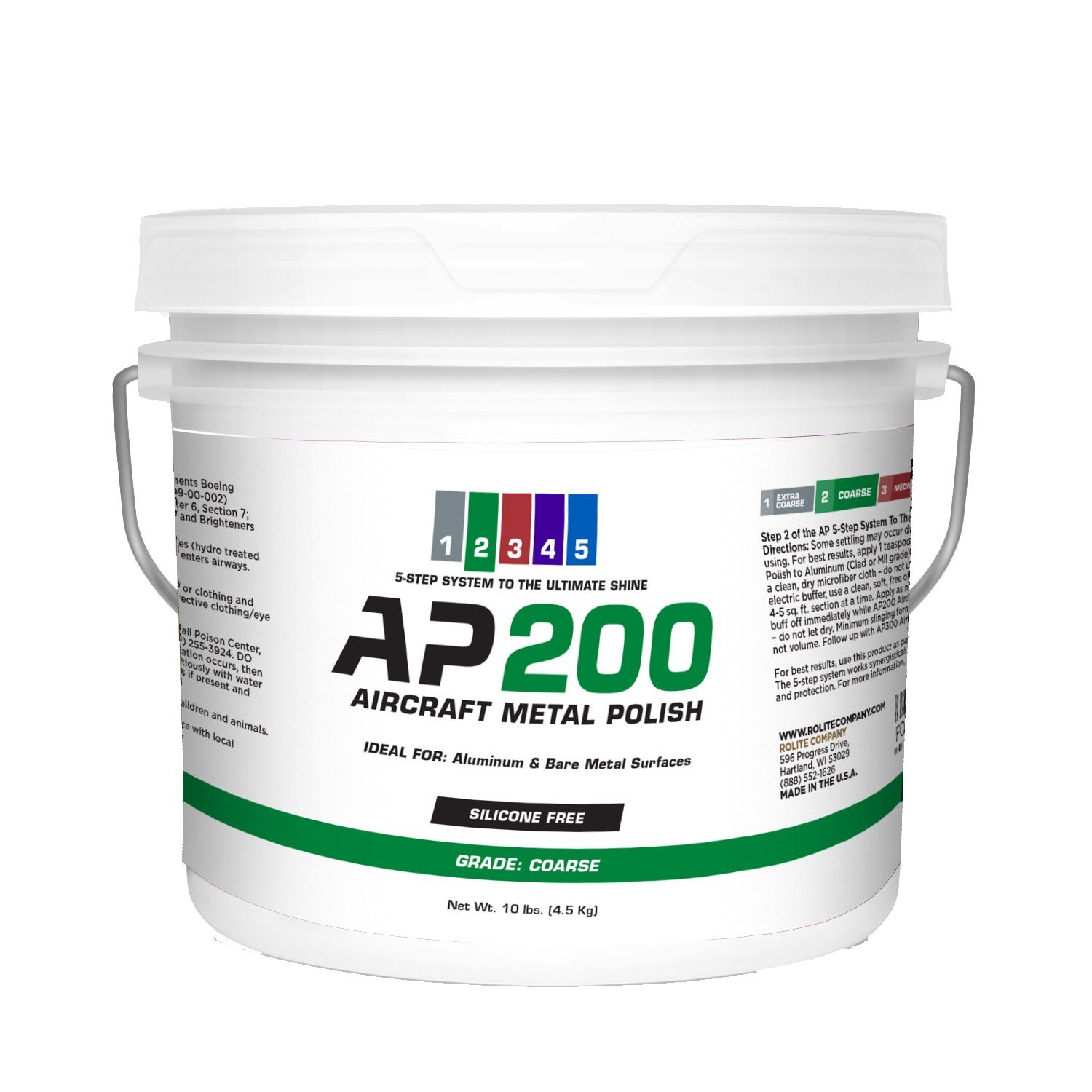 AP200 Aircraft Metal Polish (10lb) - Coarse - for Airplane Aluminum & Bare Metal Surfaces, Brightwork, Meets Boeing & Airbus Requirements