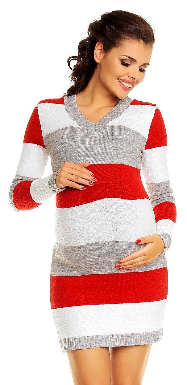 Zeta Ville Womens - Maternity Stripes Knit Jumper Dress Tunic Top V-Neck - 405c (Red, ONE SIZE US 4/6/8)