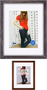 RPJC 2 pcs Sets Solid Wood Picture Frames Display Photo 11X14inch Mat8x10 Brown and 11x14inch mat8x10 Driftwood Finish