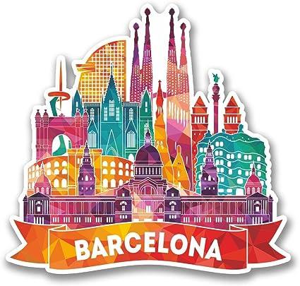 2 x 10cm/100 mm Barcelona Catalunya España Etiqueta autoadhesiva de vinilo adhesivo portátil de viaje equipaje signo coche divertido #6381: Amazon.es: Coche y moto