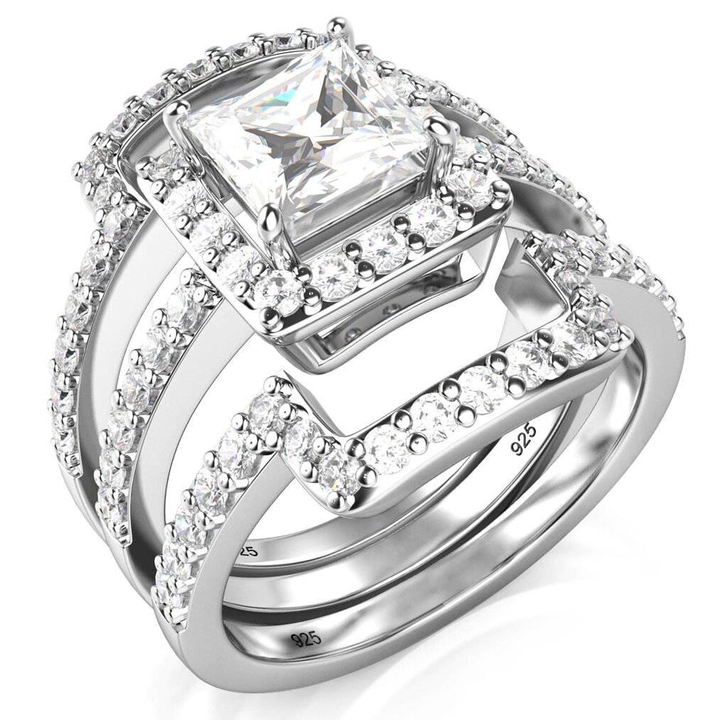 Sz 9 Sterling Silver 3Pcs 925 CZ Cubic Zirconia Engagement Wedding Band Ring Set
