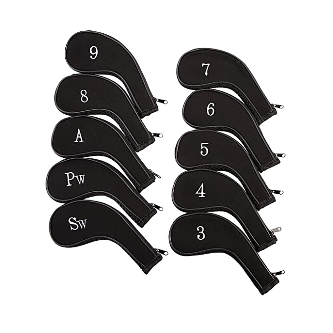 HDE Neoprene Zippered Golf Club Iron Covers - Set of 10