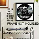 Music Says Things Quote on a Vinyl Record Album