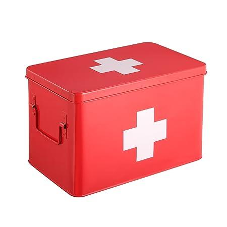 Red Medicine Box Medicine Tin Metal Medicine Storage Box
