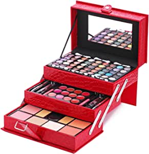 Duer Lika Mixed Beauty Makeup Kits Cosmetic Case Set Eyeshadow Palette Blushes Lip Makeup Jewellery Box Birthday (Red)