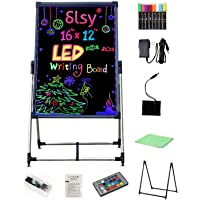 Padom Illuminated LED Message Writing Board, Erasable Neon Effect Menu Sign Board with 8 Fluorescent Makers Remote…