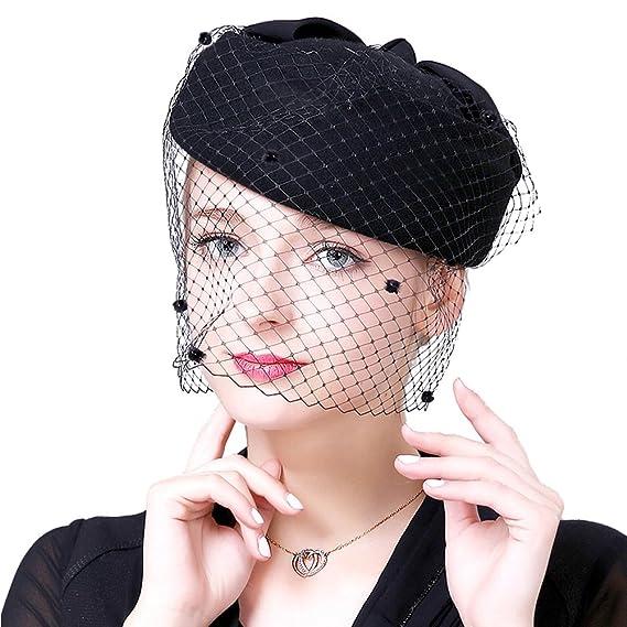 9ef72be27bd ZYCC Women Wool Fascinator Retro Hat Cocktail Cap Party Wedding Bow Veil  Winter Pillbox Hat Beanie