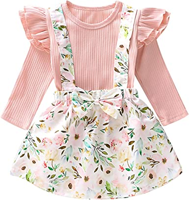 puseky Camisa de Manga Larga para niñas pequeñas niños + Conjunto de Ropa de Trajes de Falda con Suspensor Floral: Amazon.es: Ropa y accesorios