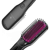 GLAMFIELDS Ionic Straightening Brush - Hair Straightener Brush with Anti-Scald, Frizz-Free, 16 Heat Levels, Auto…