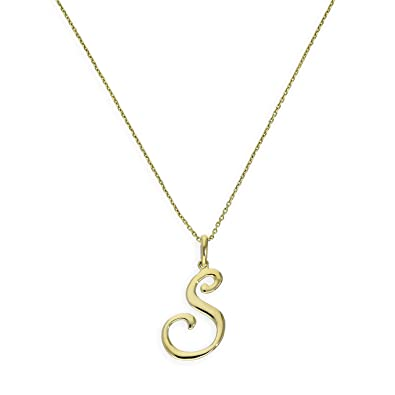 3cf394fdf06d9 9ct Gold Fancy Calligraphy Script Letter S Pendant on 16 Inches ...