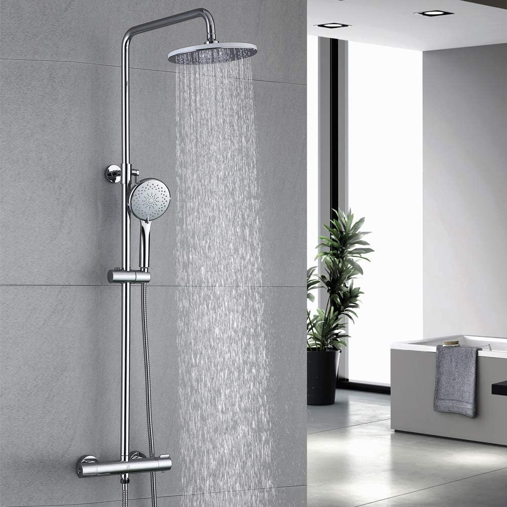 Homelody 40℃ Thermostatic Shower System Mixer bar Shower Set Chrome Rain Shower Includes Adjustable Hand Shower