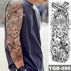 Big Arm Lion Tattoo Tatuaje impermeable Flor Cráneo Animal Hope ...