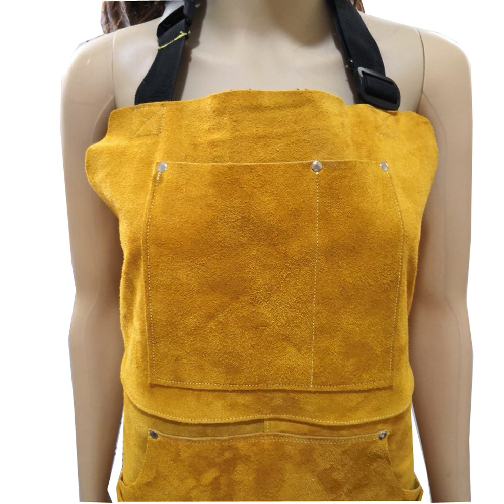A Leather Welding Apron Protective Clothing For Welders –Heavy Duty Heat & Flame-Resistant Work Apron Tool Apron With 5 Pocket For Men And Women Welding Barbecue Grinding(HSW-112) by Hersent (Image #5)