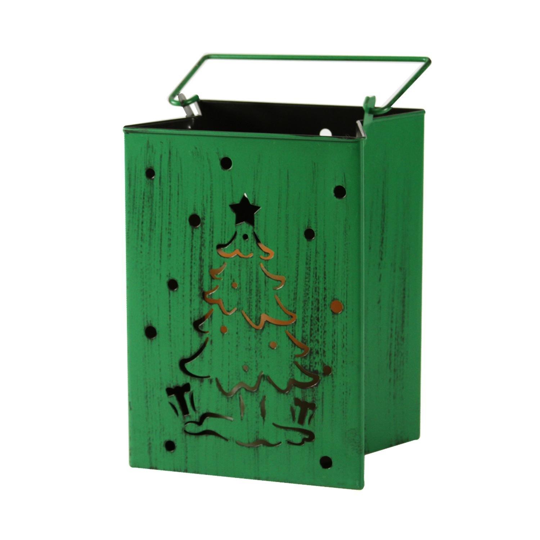Melrose 9.5'' Battery Operated Green Christmas Tree Flameless Candle Lantern Luminary