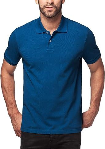 LAPASA Polo para Hombre de Manga Corta 100% Puro Algodón (S (Largo 68 cm, H-H 42 cm, Pecho 89-94 cm), Stylish Blue (Azul)): Amazon.es: Ropa y accesorios