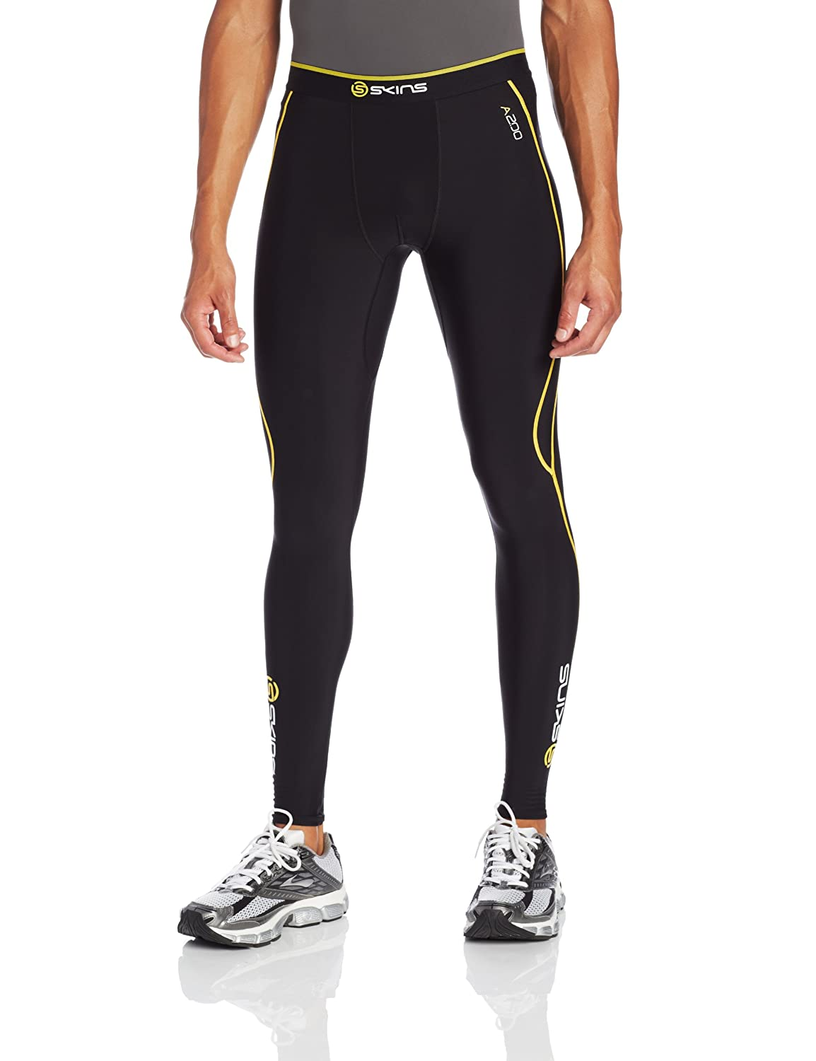 SKINS Men's A200 Thermal Compression Long Tights, Black/Yellow, Small B60052111S