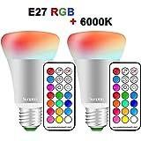 (2 Pack) LED RGBW Lampen,Sunpion10W E27 Dimmbar Glühbirne 12 Farben zur Wahl,inklusive Fernbedienung,Farbwechsel Lampen,LED Birnen,LED Leuchtmittel(E27 2 Pack)
