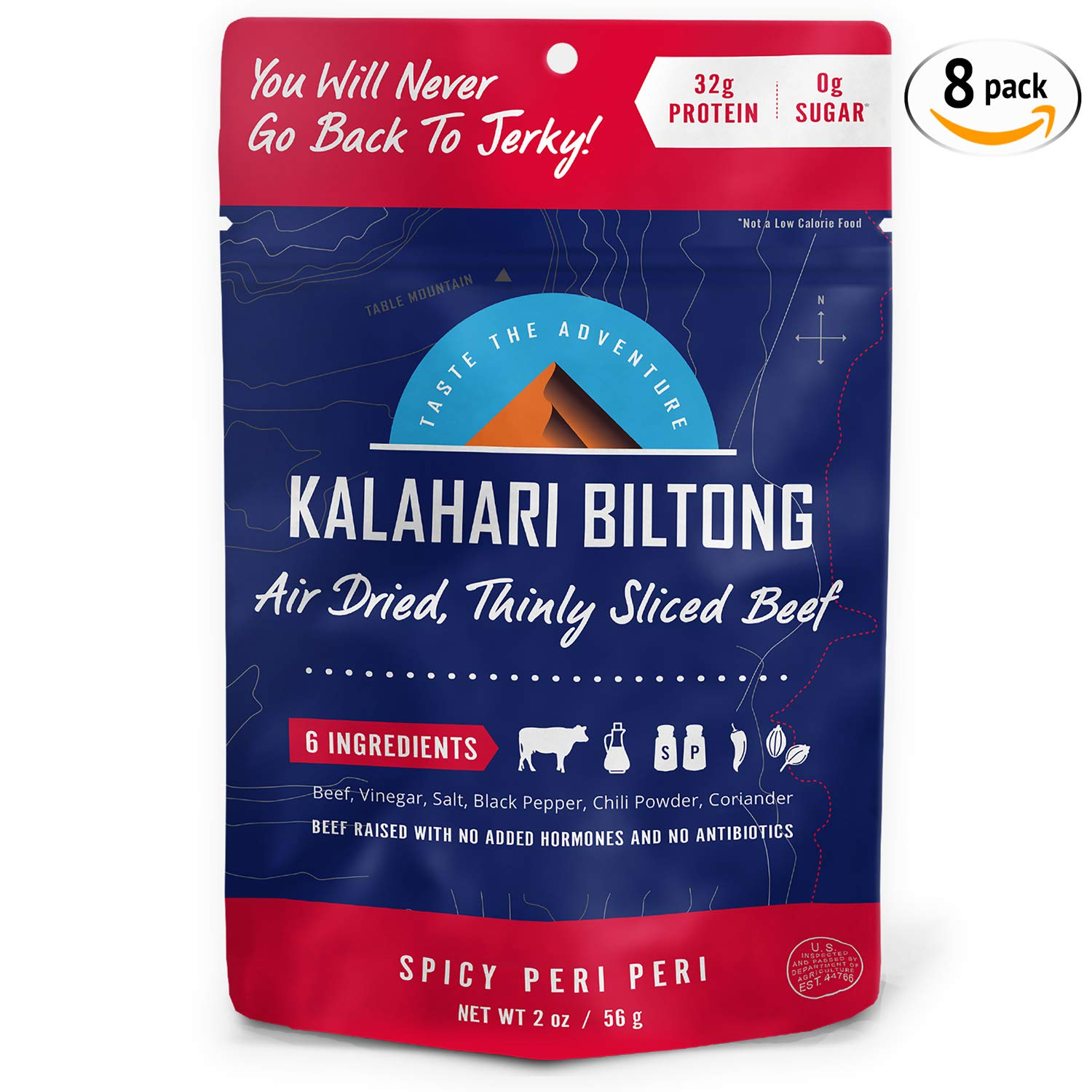 Kalahari Biltong | Air-Dried Thinly Sliced Beef | Spicy Peri Peri | 2oz (Pack of 8) | Zero Sugar | Keto & Paleo | Gluten Free | Better than Jerky