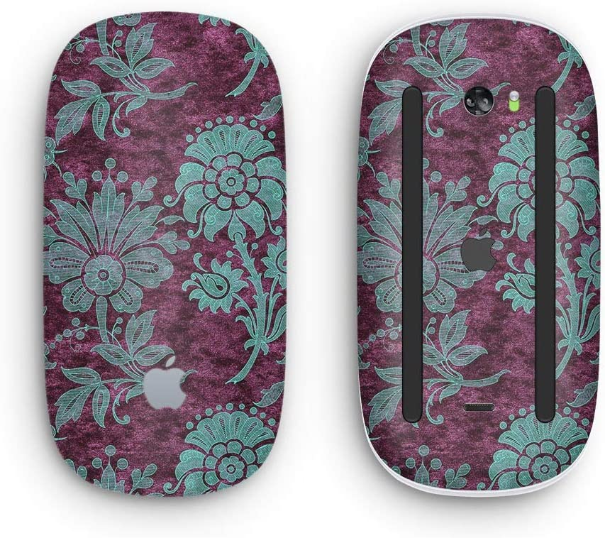 Wireless, Rechargable Design Skinz Premium Vinyl Decal for The Apple Magic Mouse 2 Burgundy and Turquoise Floral Velvet v3 with Multi-Touch Surface