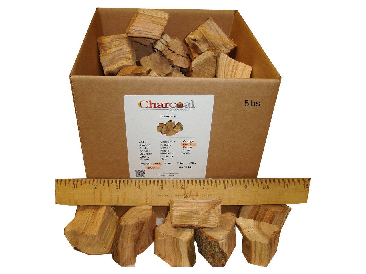 CharcoalStore Peach Wood Smoking Chunks (5 pounds) by CharcoalStore