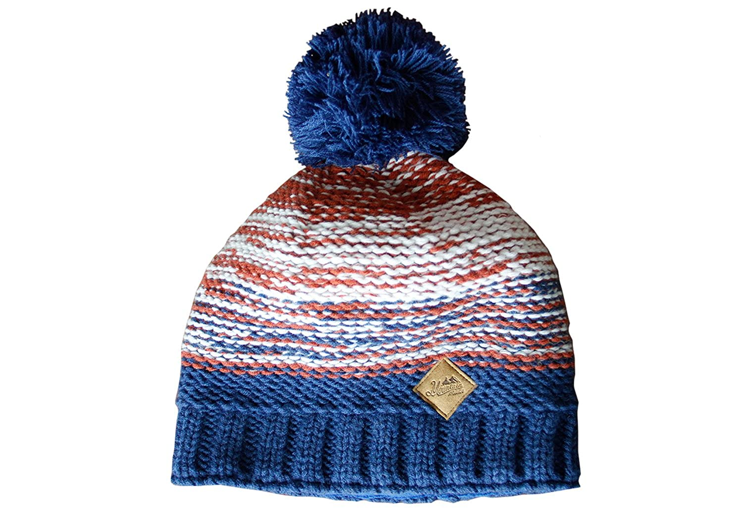 c06c8b1a992 Mountain Made Winter Striped Beanie Hat (Blue Orange) at Amazon Men s  Clothing store
