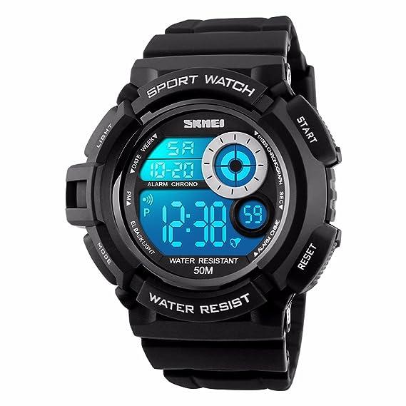 Reloj Digital Deportivo para hombre reloj de pulsera azul verde naranja blanco Fashion Big Face Dial