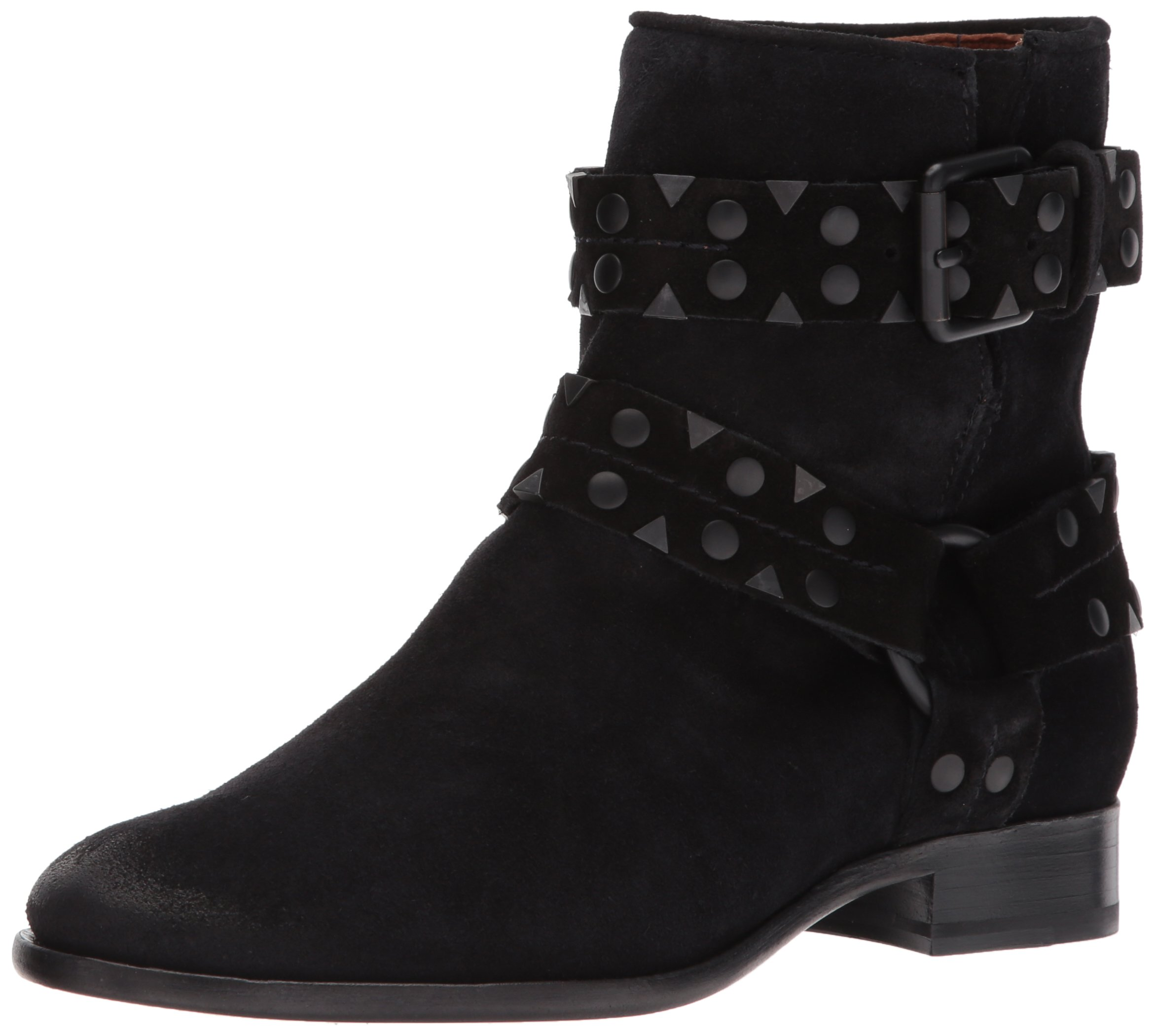 FRYE Women's Carly Stud Short Engineer Boot, Black, 6.5 M US