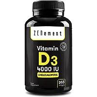 Vitamin D3 4000 IE (Kolekalciferol) | 365 Kapslar, Helårsförsörjning | Ben, muskler och immunsystem | med Extra…