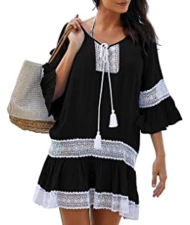 7b64b28507 Sanifer Women's Summer Beach Cover Up Dresses Sexy Loose Lace Swimsuit Cove Up  Dresses
