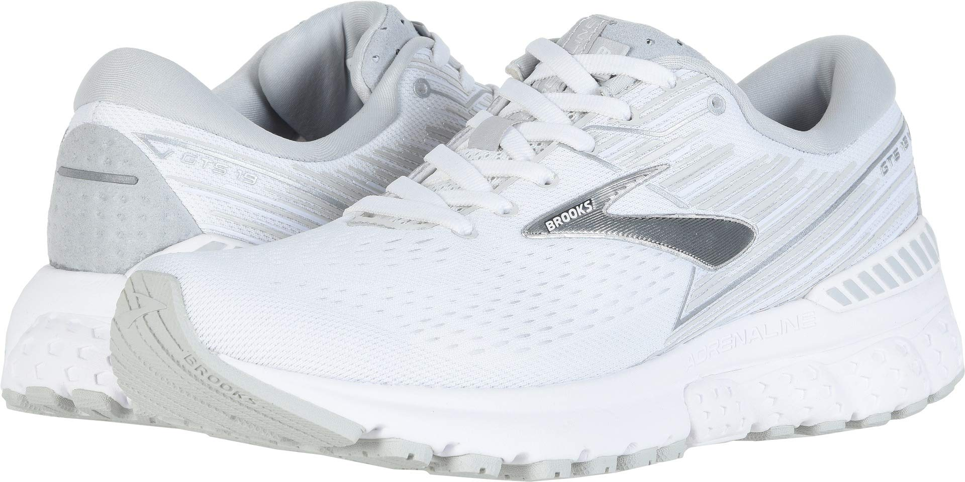 Brooks Women's Adrenaline GTS 19 White/White/Grey 11.5 Wide US by Brooks