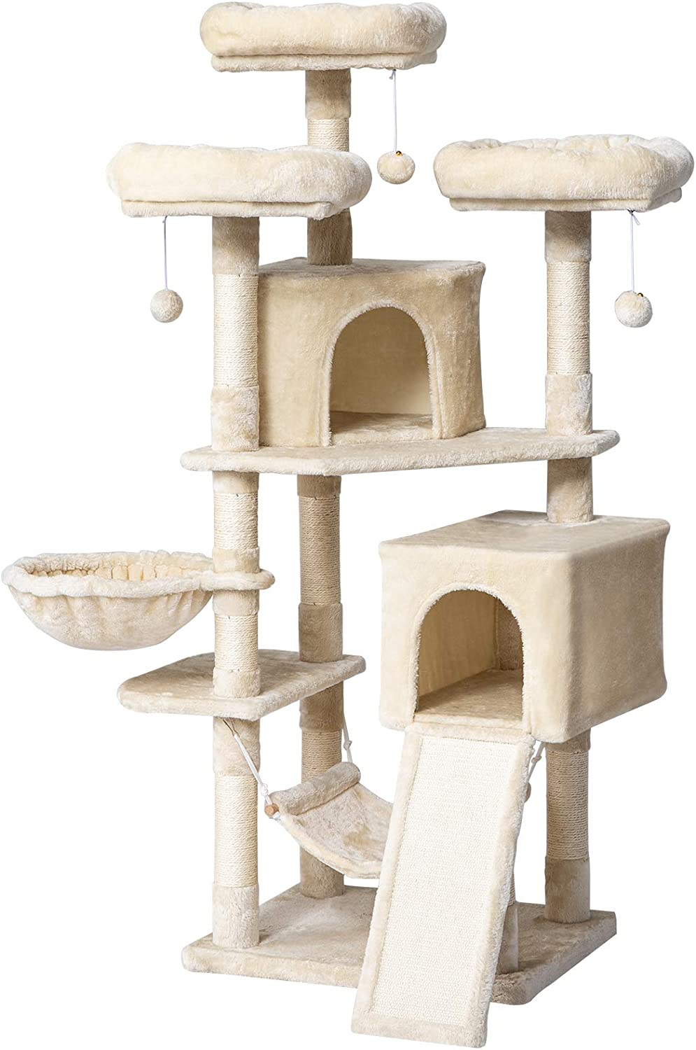 IBUYKE 63 inches Multi-Level Cat Tree Tower for Large Cats Play Furniture Cat Condo with Sisal Scratching Posts&Board, Platforms, Hammock Basket, Dangling Balls, Smoke Gray UCT021G : Pet Supplies