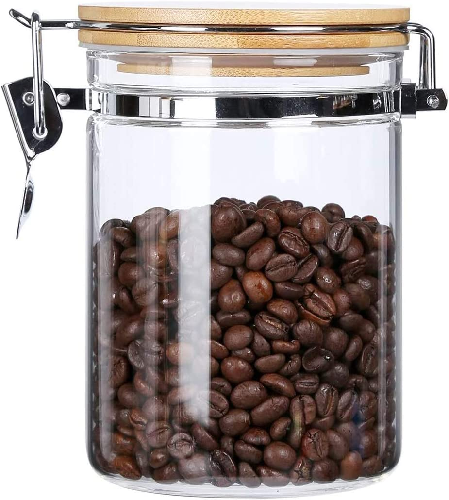KKC Home Accents Borosilicate Glass Storage Jar with Airtight Lid,Glass Sealed Jar,Bamboo Lid Glass Container with Looking Clamp Lid,Loose Tea,Coffee Bean,Salt,Sugar Storage Jar,27 Floz
