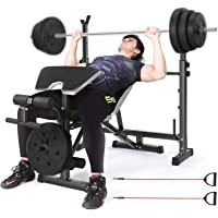 YUTK Multi-Functional Weight-Lifting Bed Weight-Lifting Machine Fitness Equipment Weight Bench Barbell Lifting Press Gym Equipment Exercise Adjustable Incline 35.7LBS//16kg