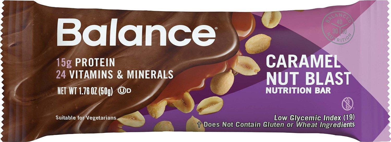 Balance Bar Caramel Nut Blast Nutrition Bars Caramel Nut Flavored Protein Nutrition Bar 15g Protein 6-1.76oz. Bars
