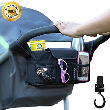 1a5f2f9faab2a Stroller Organizer + Stroller Hook, Universal fit with Adjustable Straps,  Stroller Caddy, Accessories