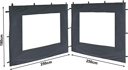 QUICK STAR 2 paneles laterales con ventana de PE 250x190cm gris para Gazebo 3x3m: Amazon.es: Jardín