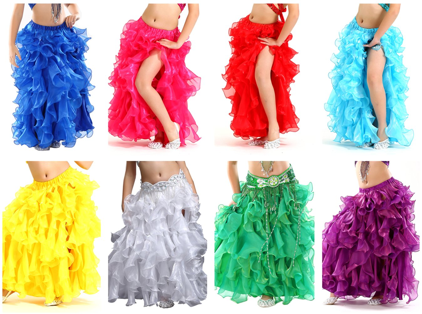Demon Baby Girls' Belly Dance Side Slit Skirt Princess Party Latin Split Skirt Flower Laced Ball Gown(8Piece/Set,M)