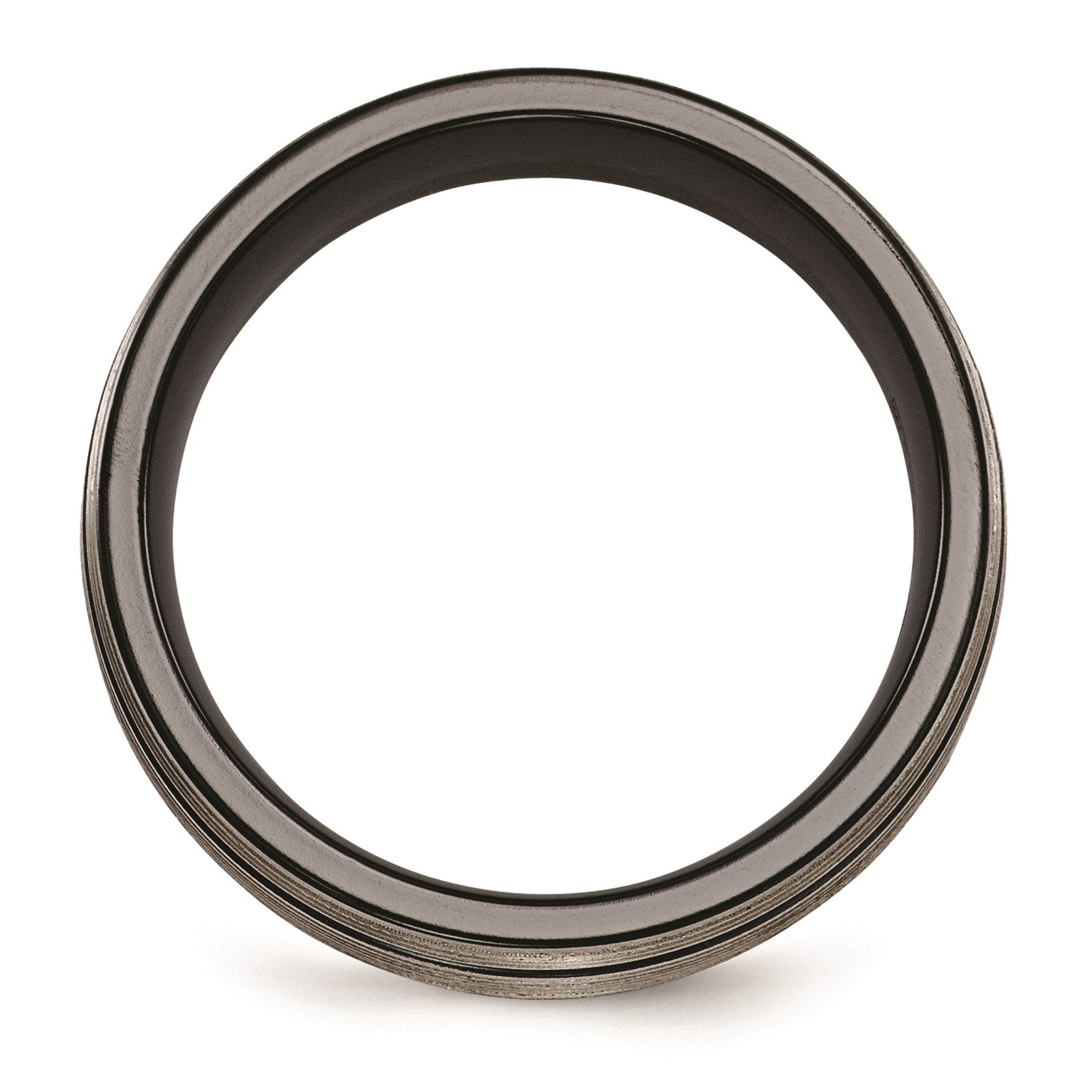 Titanium Black Ti Grooves & Textured Lines Polished 7mm Wedding Ring Band Size 8.5 by Edward Mirell by Venture Edward Mirell Titanium Bands (Image #2)