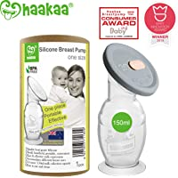 Haakaa Breast Pump Manual Breast Pump Silicone Pump Milk Saver with Suction Base and Upgrade Silicone Lid 100% Food Grade Silicone BPA Free (5oz/150ml with Lid)