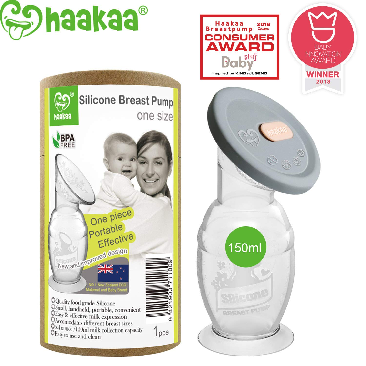Haakaa Breast Pump with Suction Base and Silicone Lid (5oz/150ml)