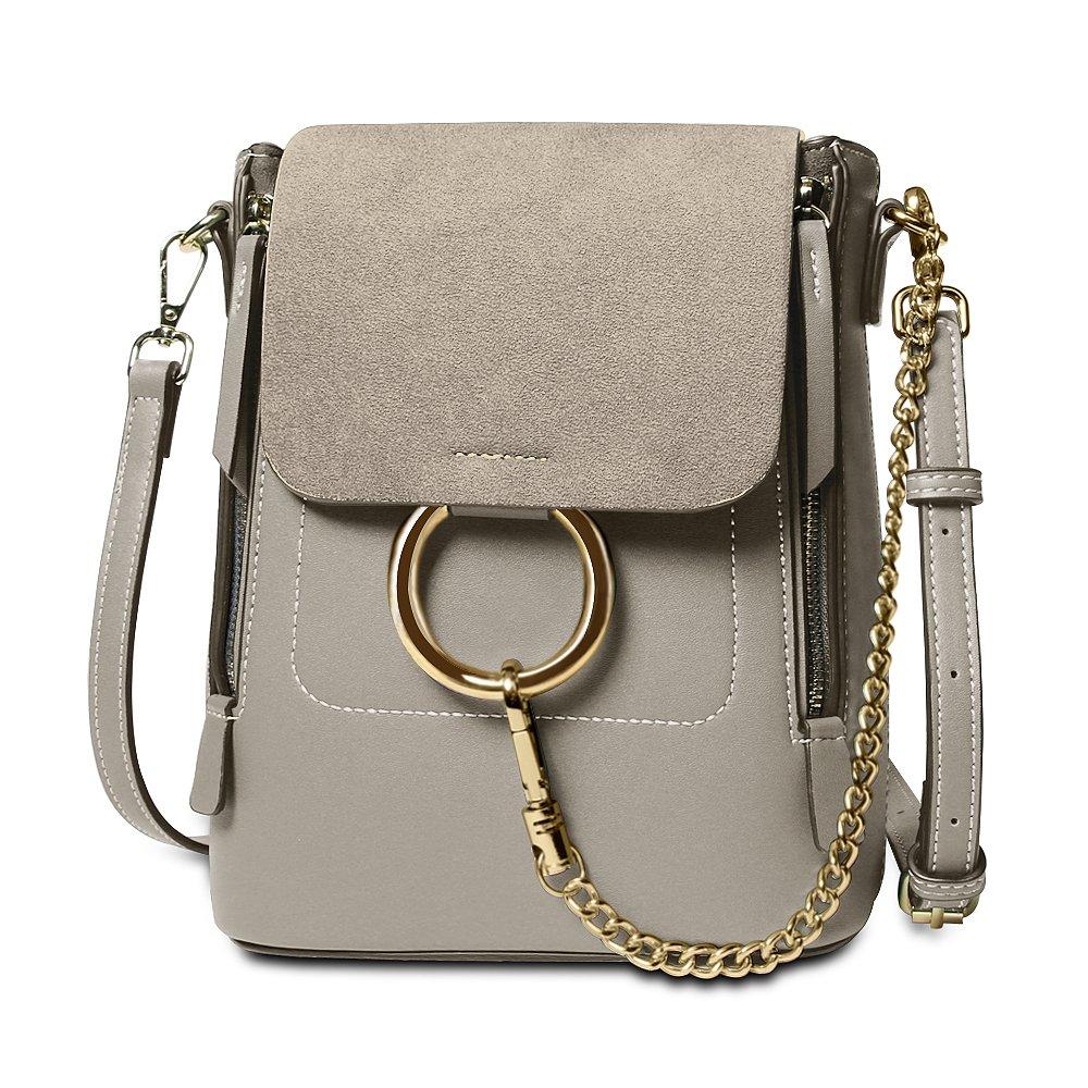Olyphy Designer Leather Chain Backpack for Women, Fashion Shoulder Bag Backpack (Dark_Gray)